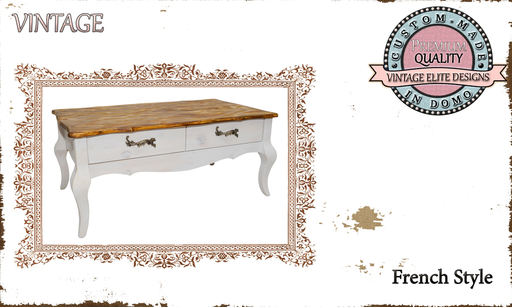 CUSTOM-MADE FRENCH STYLE COFFEE TABLE PERSONALIsED BY YOUR CHOICE OF PAINTS AND DIMENSIONS. 100X57X44 (TO ORDER AT €450)