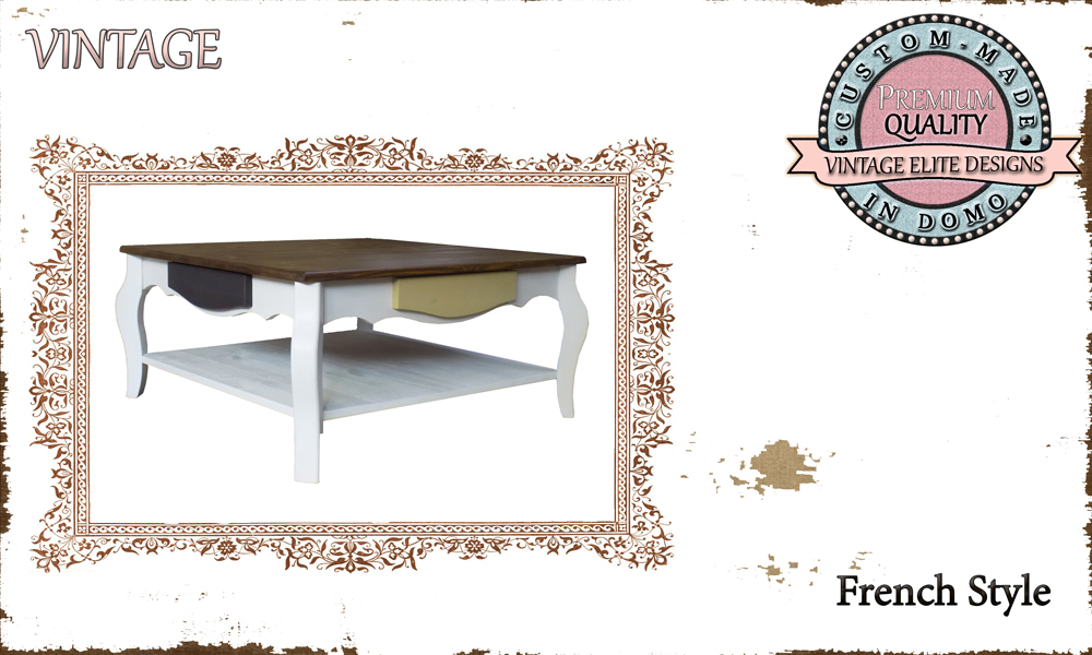 CUSTOM-MADE FRENCH STYLE COFFEE TABLE PERSONALISED BY YOUR CHOICE OF PAINTS AND DIMENSIONS. 80X80X38 (TO ORDER at €380)