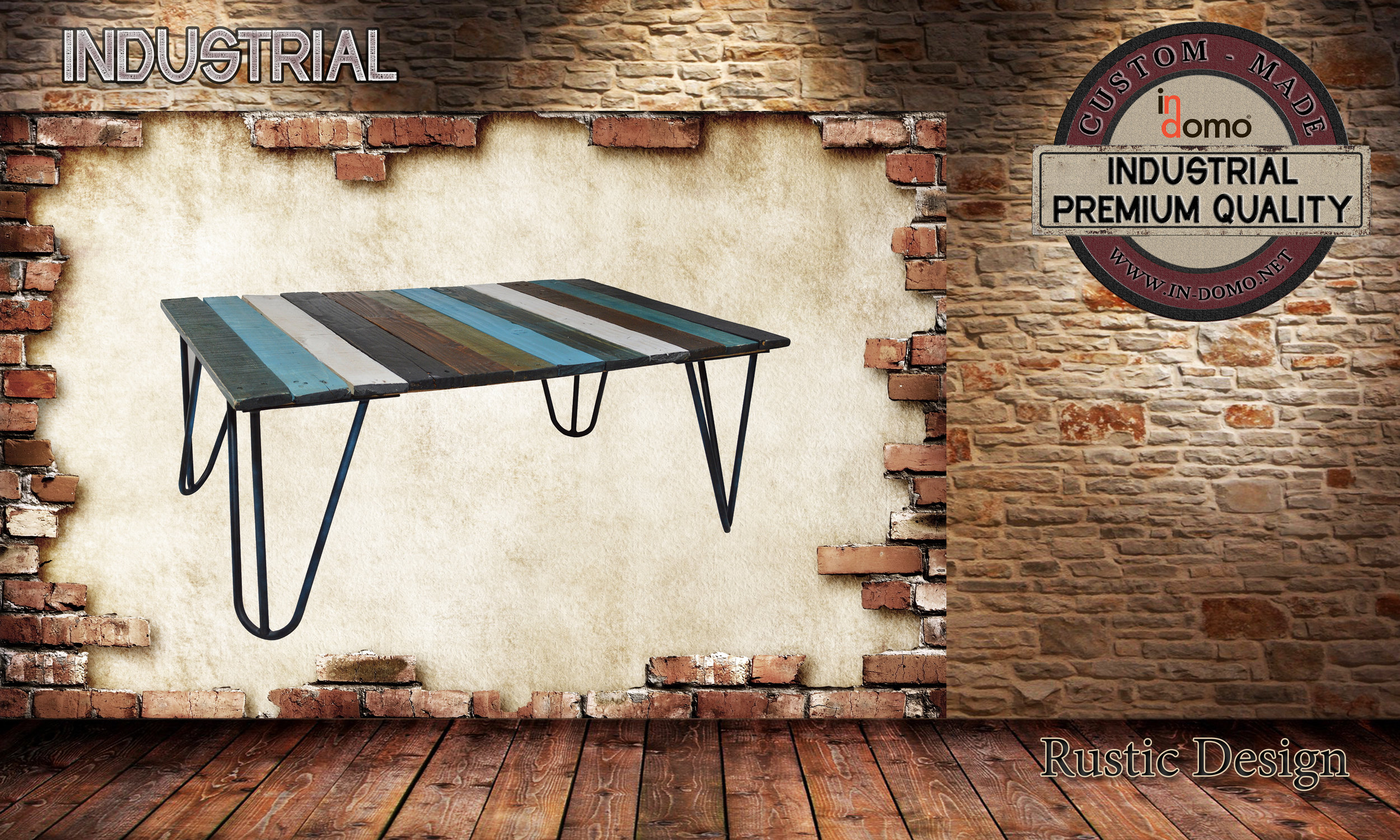 CUSTOM-MADE INDUSTRIAL Coffee table PERSONALIsED BY YOUR CHOICE OF PAINTS AND DIMENSIONS. 90X60X35 (TO ORDER AT €170)