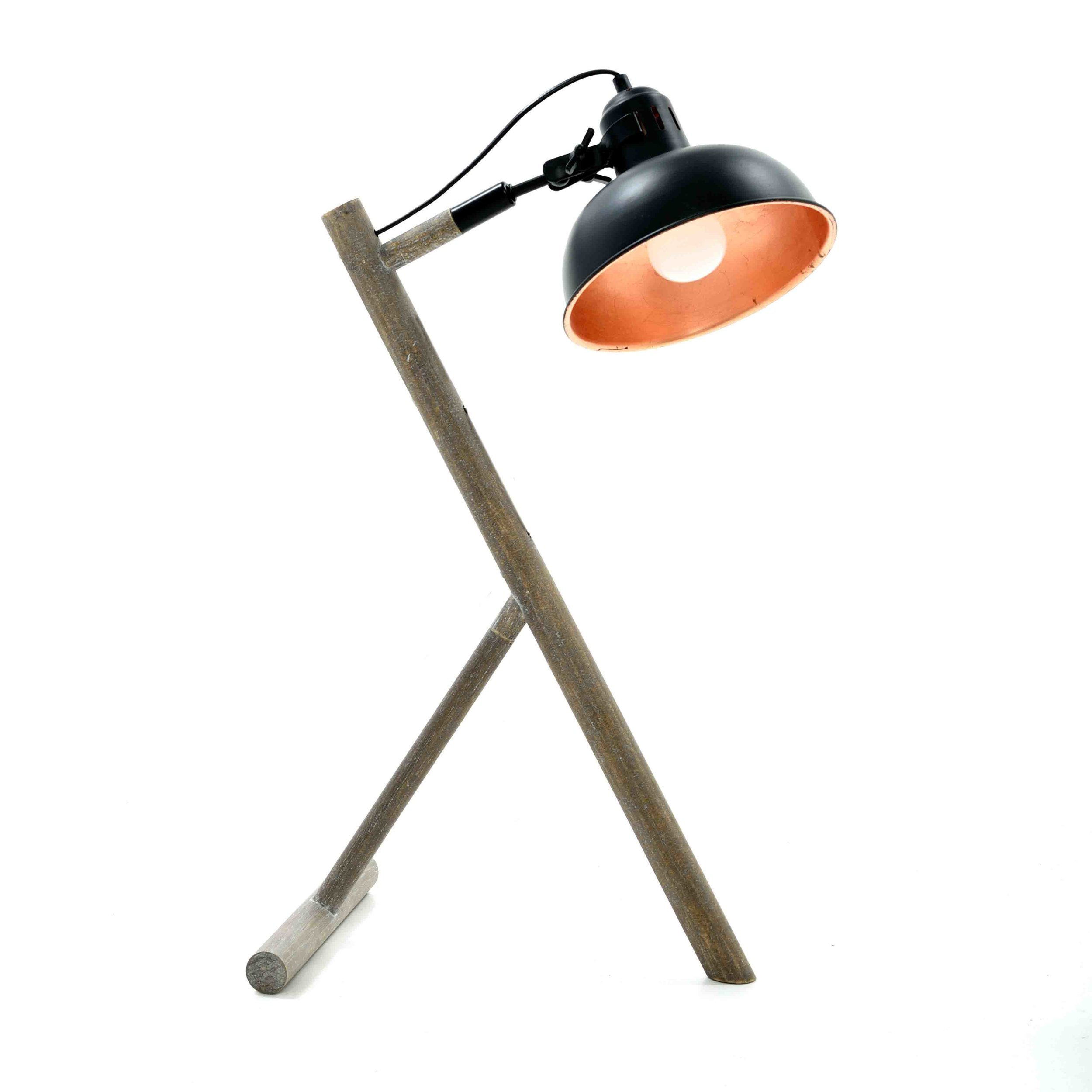 €130 WOODEN/METAL TABLE LAMP IN BLACK COLOR 42X25X68