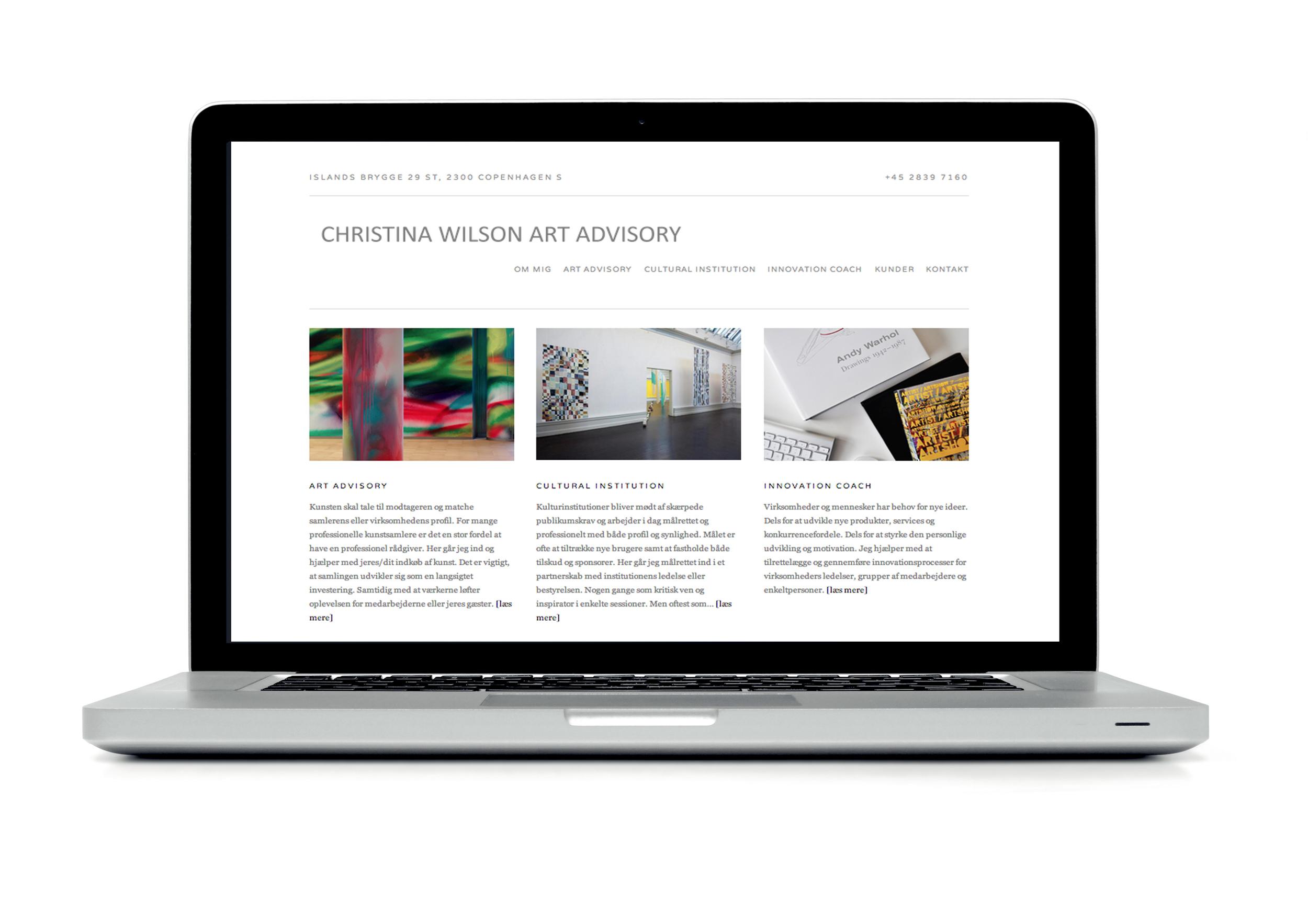 Website design for Christina Wilson Art Advisory.  See site here:  Christinawilson.net