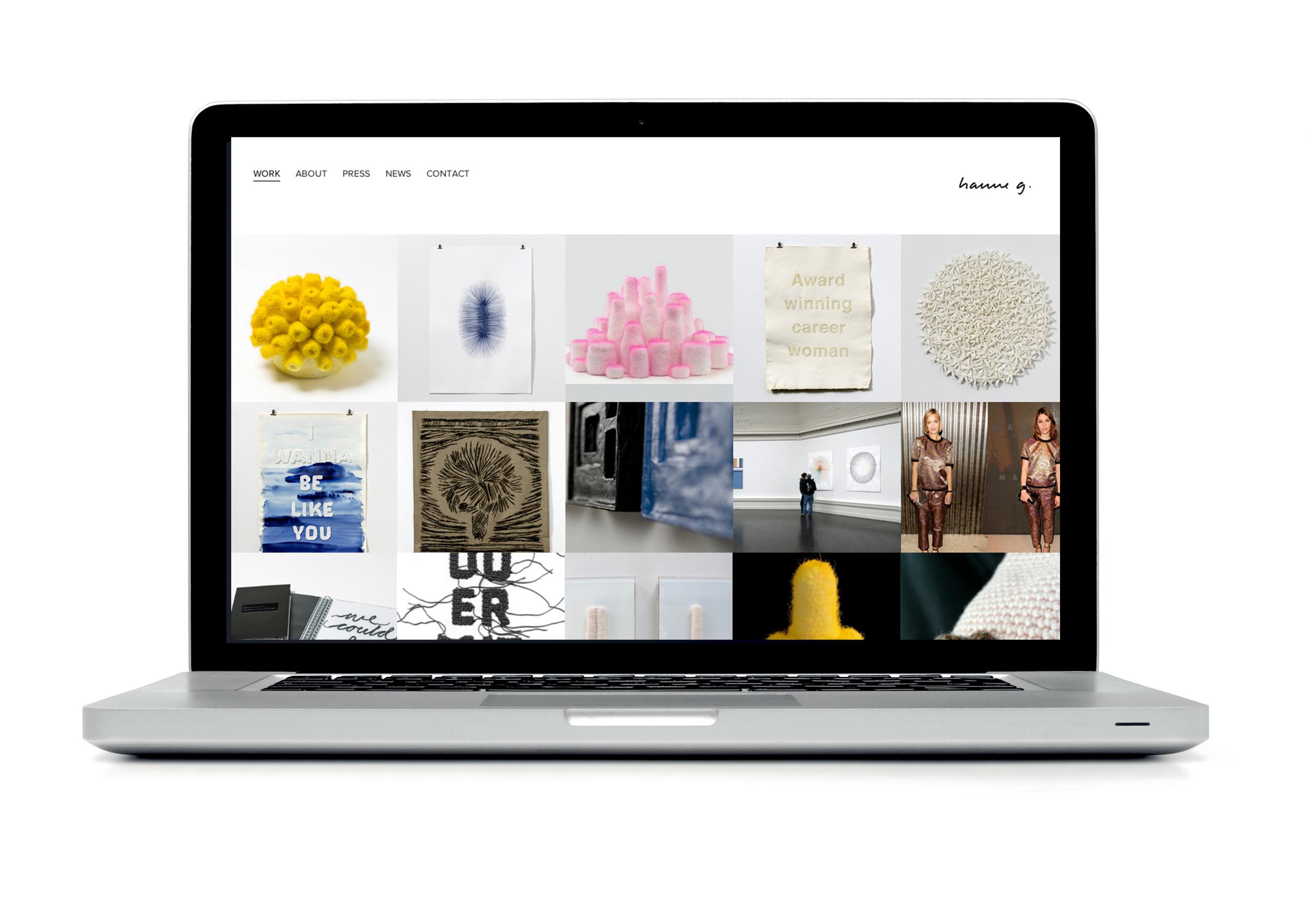 Website design for artist Hanne G  See site at:  www.hanneg.dk