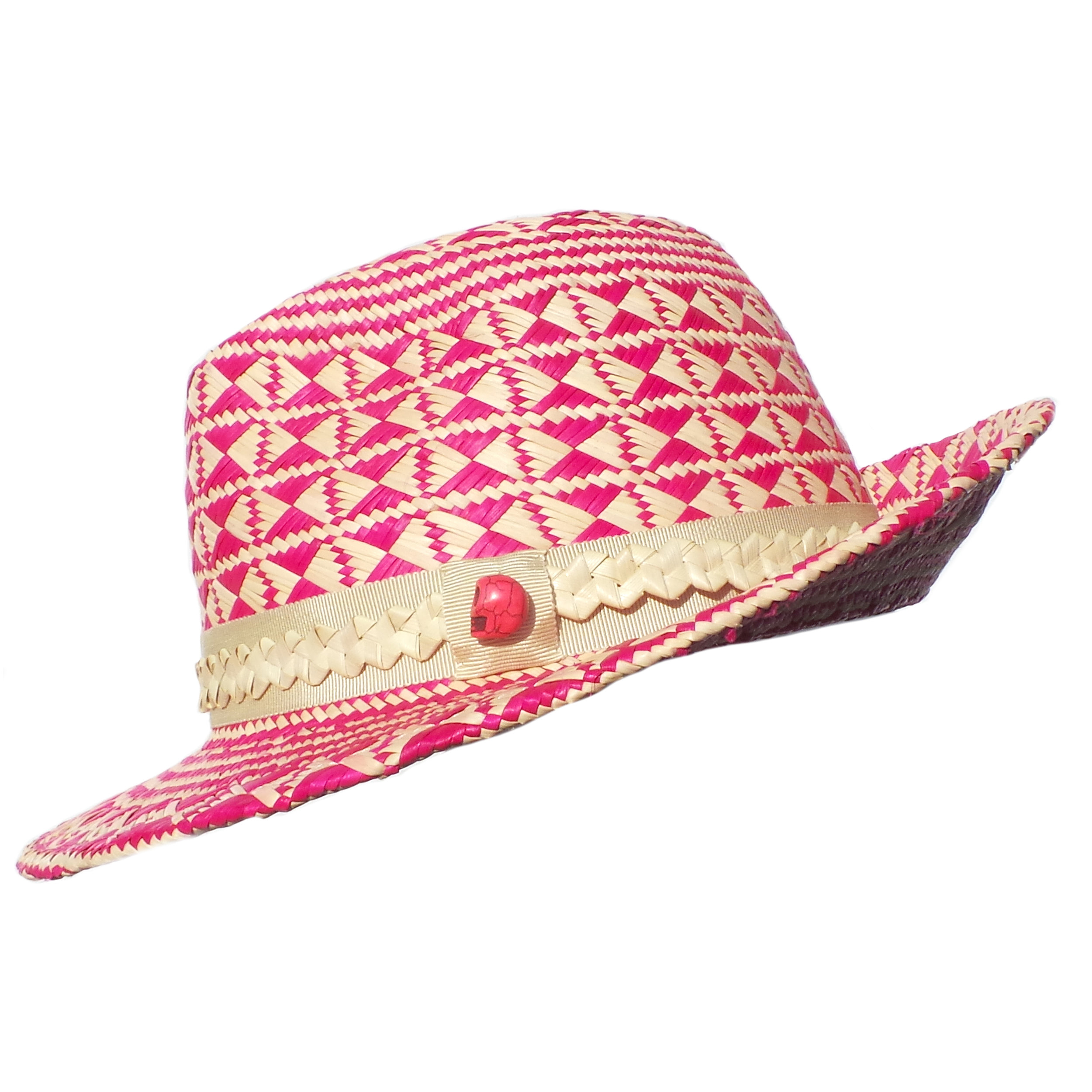 Pink Skull Panama Trilby