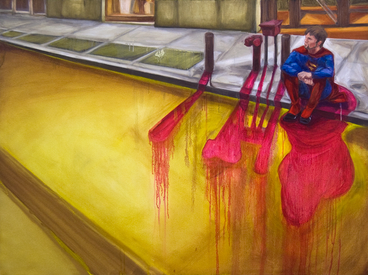 Untitled (Man of Tomorrow 10), 36 x 48 inches, oil on canvas, 2010