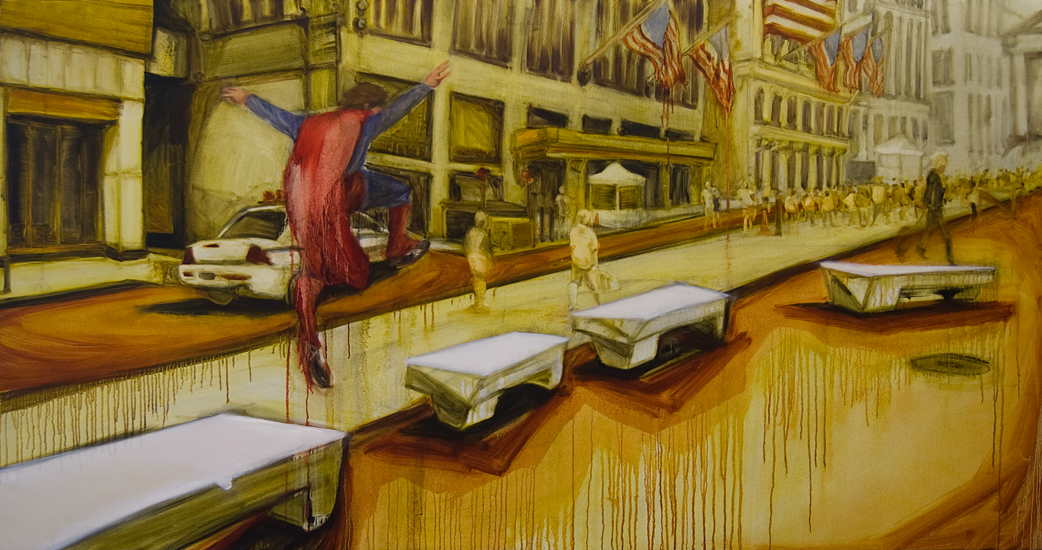 Untitled (Man of Tomorrow 12), 44 inches x 88 inches, oil on canvas, 2011
