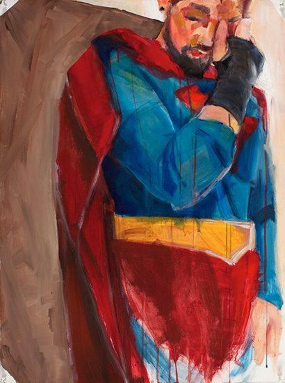 Superman Study 01, 30 x 22 inches, acrylic on paper, 2010