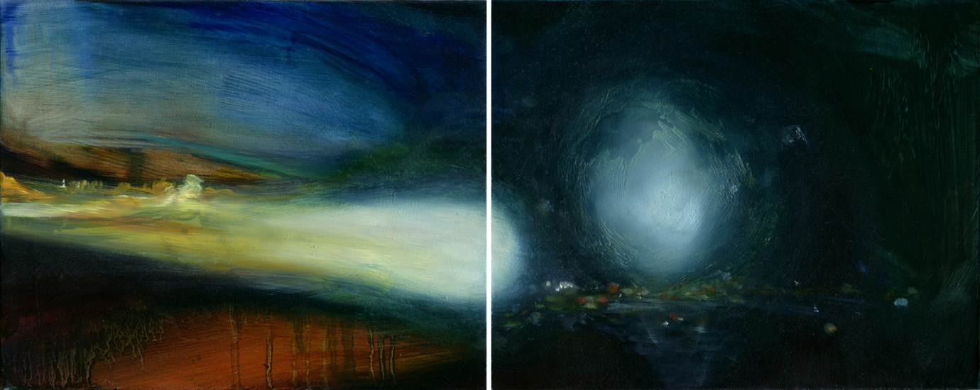 The Silent Inland Presence 13, diptych, each panel 8 x 10 inches, oil, 2011