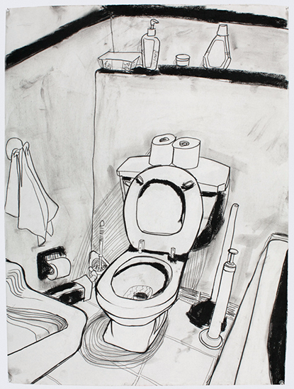 Toilet (040510), 30 x 22 inches, charcoal , 2010