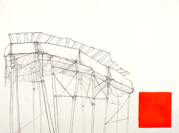 Scaffold with Orange Square, 22 x 30 inches, graphite and acrylic, 2009