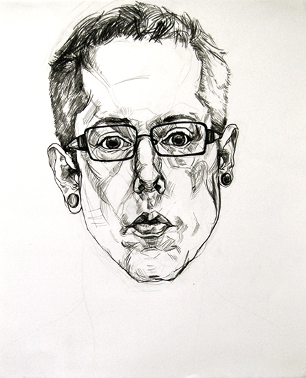 Self-portrait, 22 x 18 inches, oil-based pencil, 2008