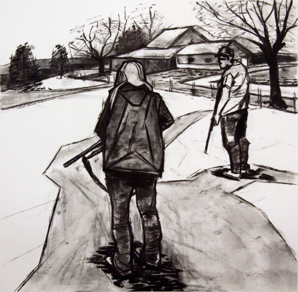 "Cousins, 22"" x 30"" charcoal on paper, 2013"