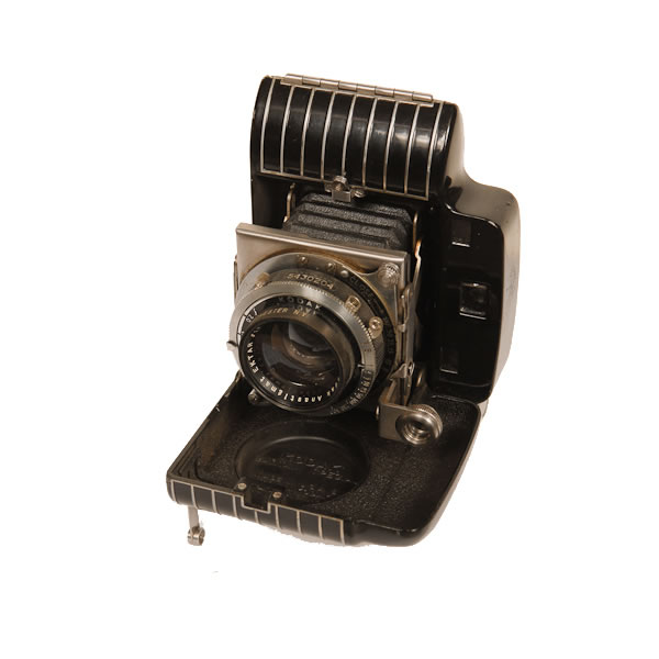 """Kodak Bantam Special   1936-1940. The name """"Special"""" indicates superior finish for Kodak cameras. In this case the camera has an art-deco styling. The Bantam cameras were folding cameras that used 828 film. 828 film was like 35mm but it did not have any perforation on either side of the roll."""