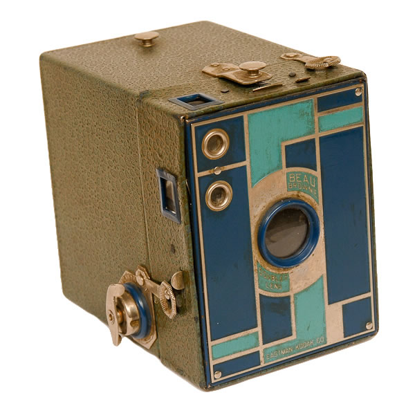 Kodak Box Beau Brownie No. 2   1930-1933. A 6 exposure 120 film box camera. The standard No 2 box camera was made from 1901 to 1933. This art-deco style used five different color combinations The camera pictured above was the blue model.