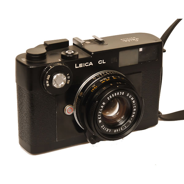 Leica CL   1973-1975. Designed in Germany by Leitz Wetzlar, this camera was built in Japan with Leitz lenses. There were 2 other models made just like it, the Leica Minolta CL with Rokor lenses introduced in Japan and the the Minolta CLE. It is a 35mm compact rangefinder camera that has interchangeable lenses.