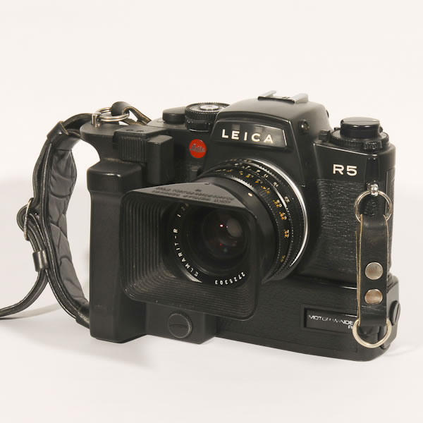 Leica R5   1986. 35mm film SLR. These cameras followered the R3's, parts of which were made by Minolta and the R4s which required more than normal repair. Fortunately the R5's were back to the quality for which Leica was famous.