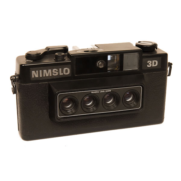 Nimslo 35 3D   1980's. A 35mm cartridge loading stereo camera whose images could be seen without the aid of a viewer. The printing process is known as Lenticular printing. Produced by an Atlanta Ga. firm, Nimstec this camera had 4 separate lens which projected 4 half frame images on the euivalent of 2 normal size negatives. These four images were then printed with a special printer which created a 3-D image. In 1989 the Nimslo went bankrupt. Part of the company was sold and for a while 3-D cameras were sold under the Nishika label. Eventually after making an inferior version Nishika went bankrupt also.