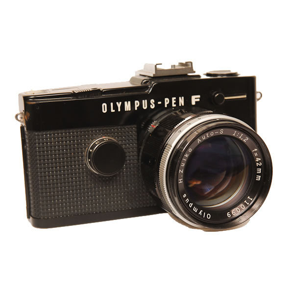 Olympus Pen F HF   1963-1966. Olympus Kogaku was founded in 1919 as Takachiho Seisakusho as a manufacturer of microscopes. In 1936 they made their first camera. By 1949 they had been renamed as Olympus Optical Company. A member of the Pen half frame family.
