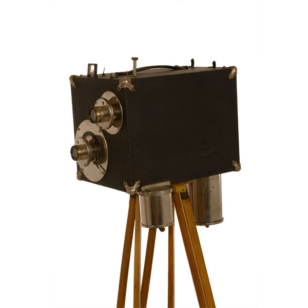 """W.S. Mountford Street Camera   c 1920's. Box form camera for making tintype photos. Special developing tanks hang from the bottom of the camera enabling pictures to be developed on site. A true """"Street Camera"""". This was popular on board walks and city streets."""