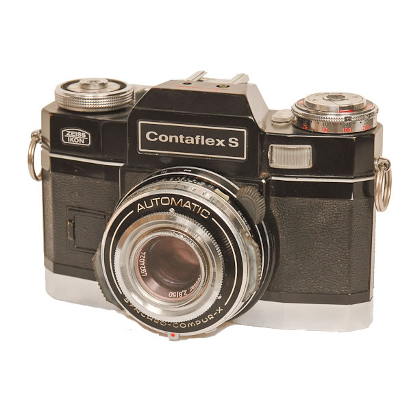Zeiss Ikon Contaflex S   1970-1972. The Contaflex series started in 1935. By the 1960's all models had interchangeable magazine backs, as well as a high speed winder.