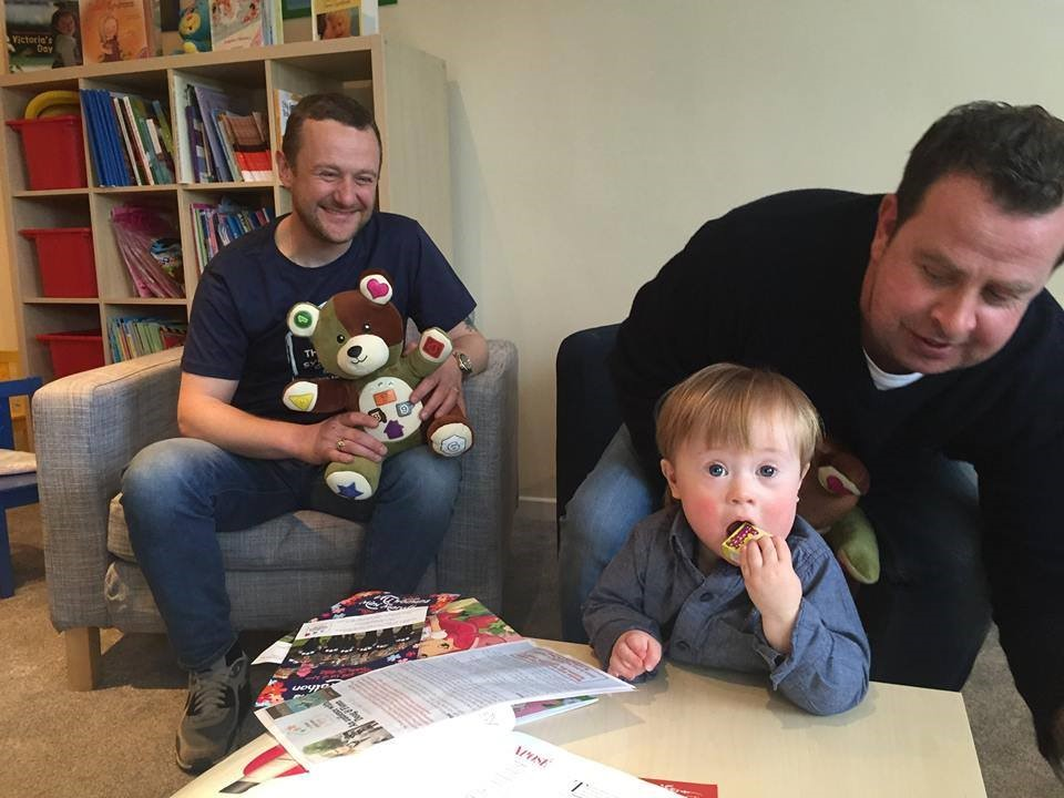 4FM presenters meet children at the Down Syndrome Centre.