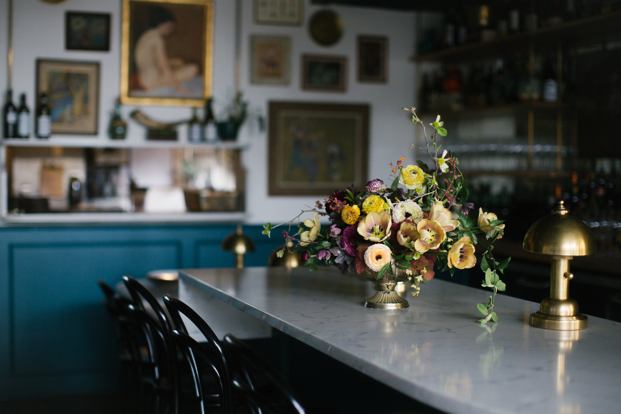 Lush blooms in a moody space