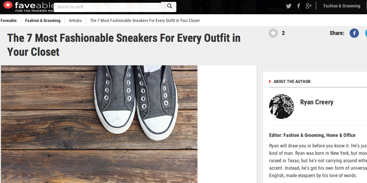 """Article reads:  It's a new era in formal menswear, guys. There's a new trend that's hit the streets and you're going to want to jump on it: Fashion Sneakers.Pairing casual items with your more formal looks, like a suit or khakis and tie, is a great way to get a stylish look with a little comfort. When wearing sneakers with more formal attire, the key is proportion. Never pair a wide shoe with a pant leg that's too narrow, and always make sure the pants are hemmed to an appropriate length (between a quarter inch to 2"""" from the ground, depending on your style). At faveable , we've found a few sneaker options that we like shown below, most from name brands you're going to be very familiar with."""