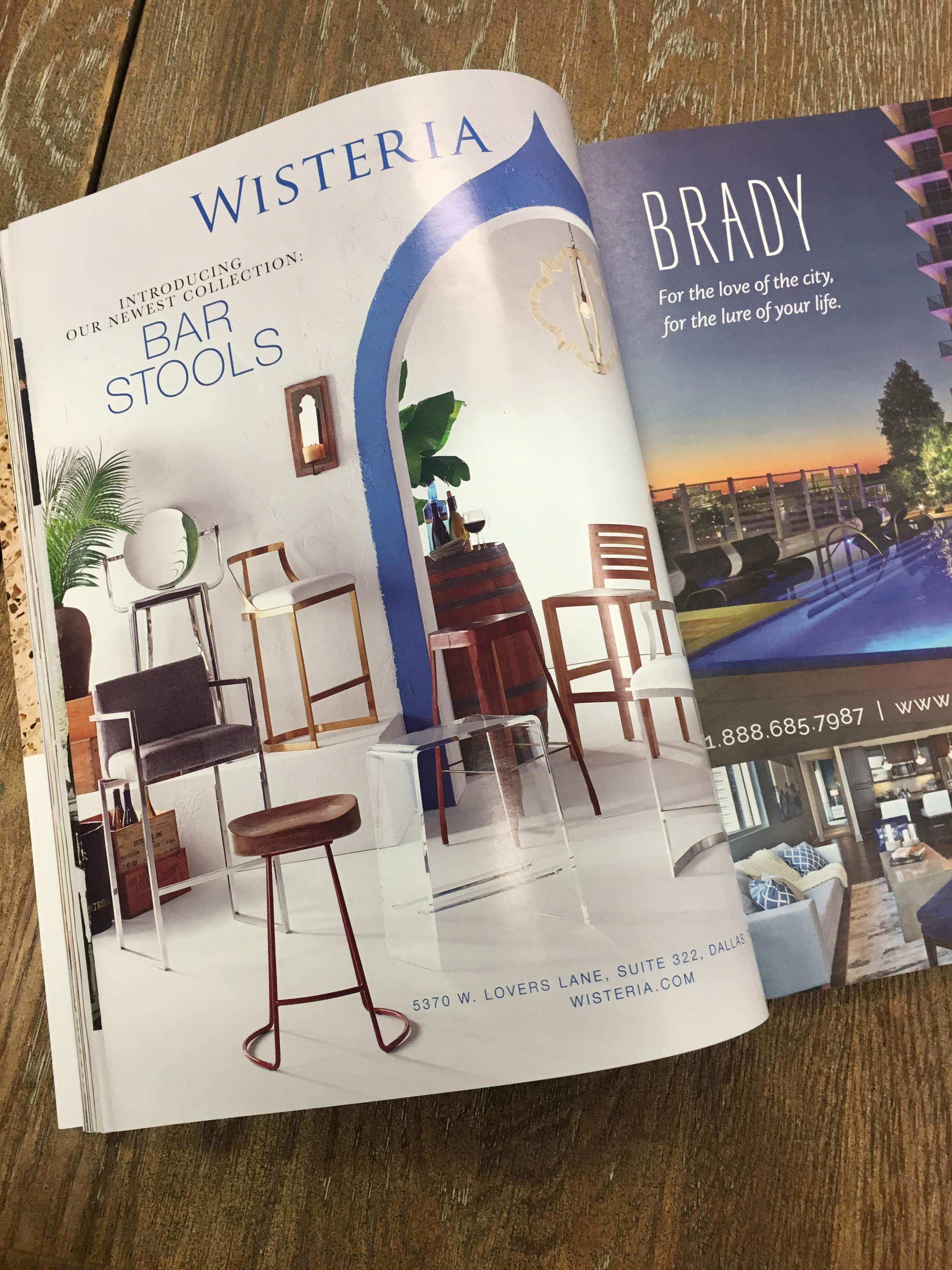 Wisteria Bar Stool Feature fold out, back page.