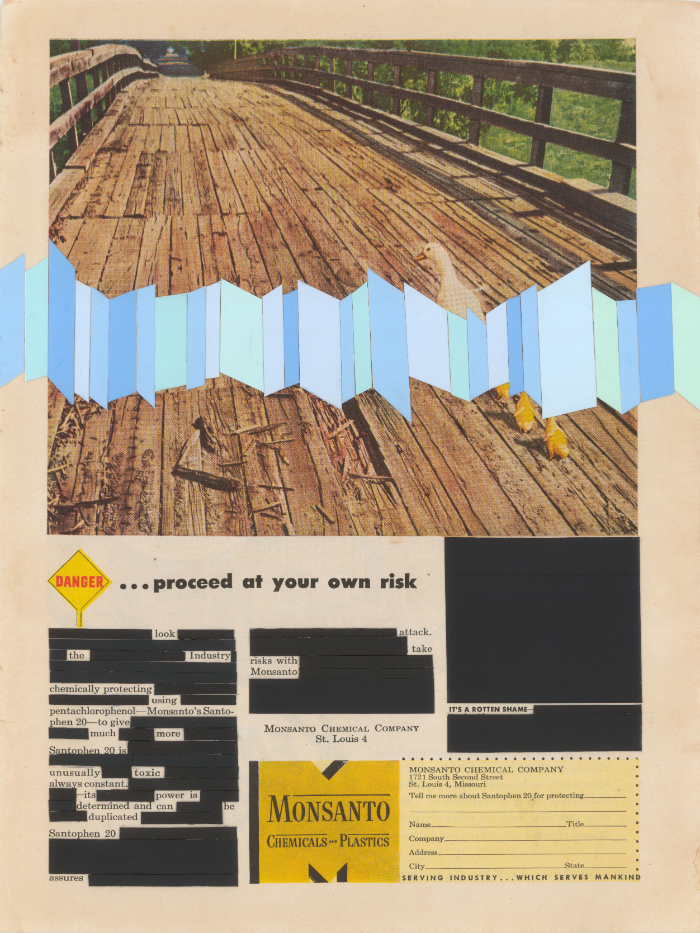 "Proceed At Your Own Risk , collage, 1948 Monsanto magazine ad, 11"" x 8.25"", 2013"