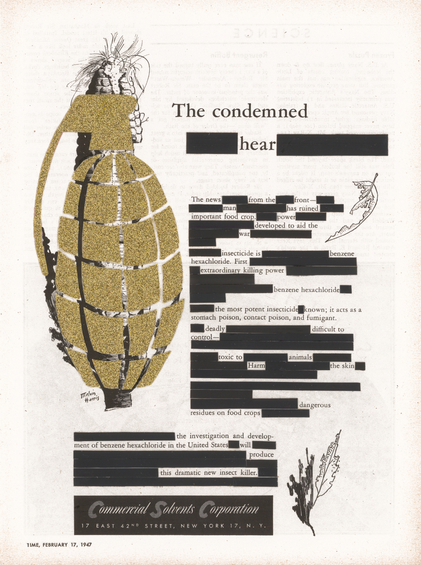 "The Condemned Hear, collage, glitter, 1947 Commercial Solvents magazine advertisement, 11"" x 8.25"", 2013"