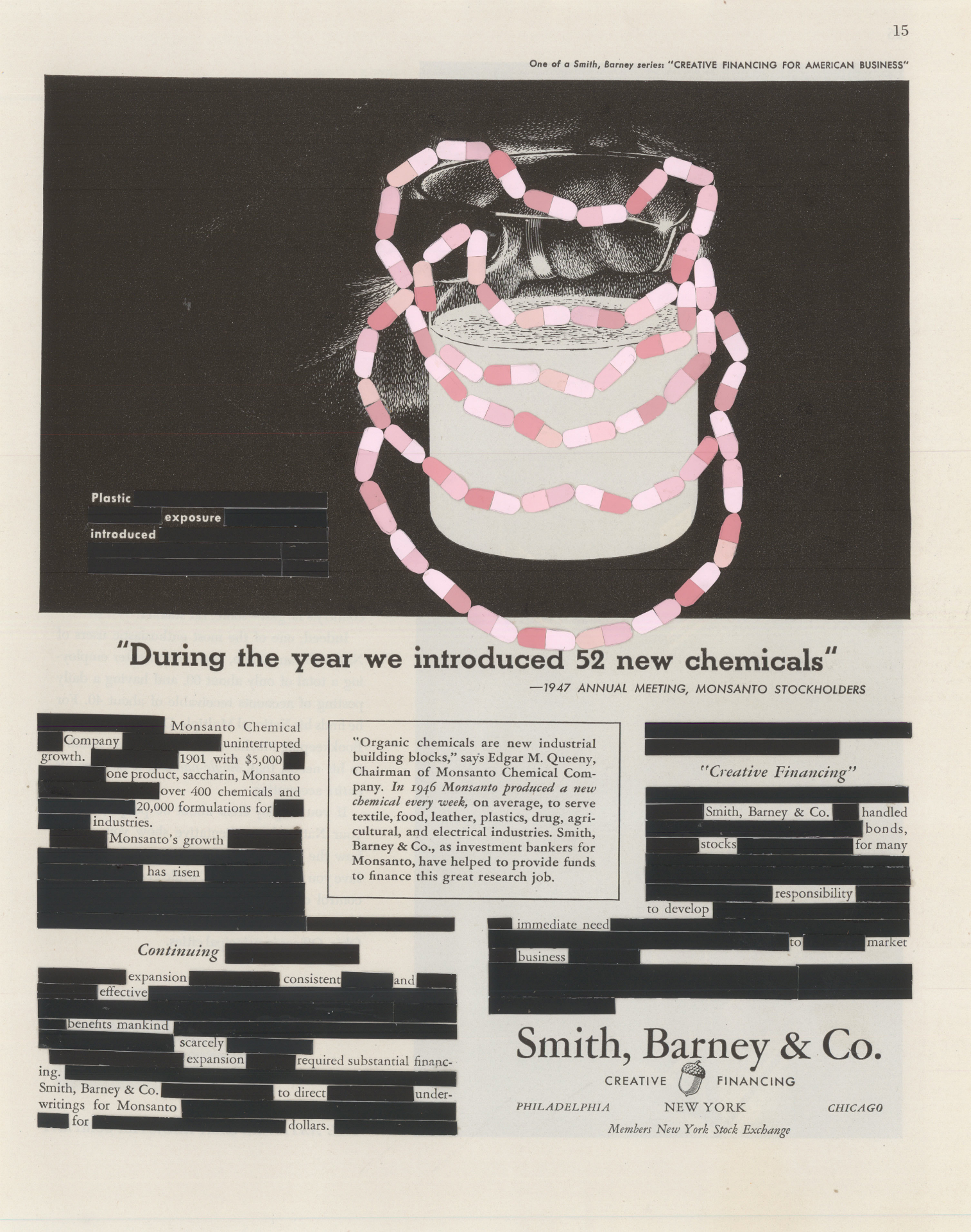 "52 New Chemicals, collage, 1947 Smith, Barney & Co. magazine advertisement, 13"" x 10.25"", 2013"