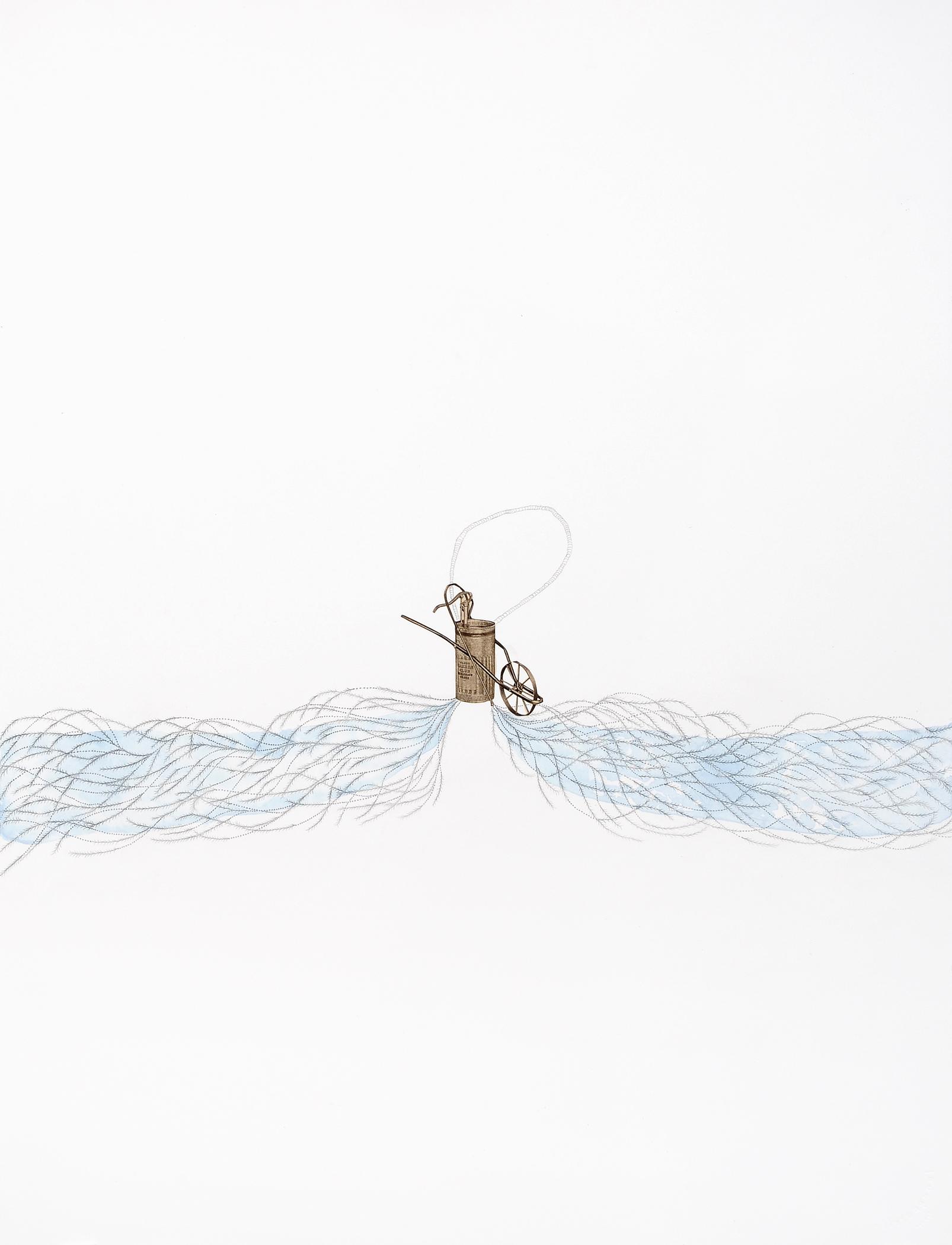 "Wheelbarrow Sprayer, gouache, graphite,collage on paper, 30"" x 22"", 2012"