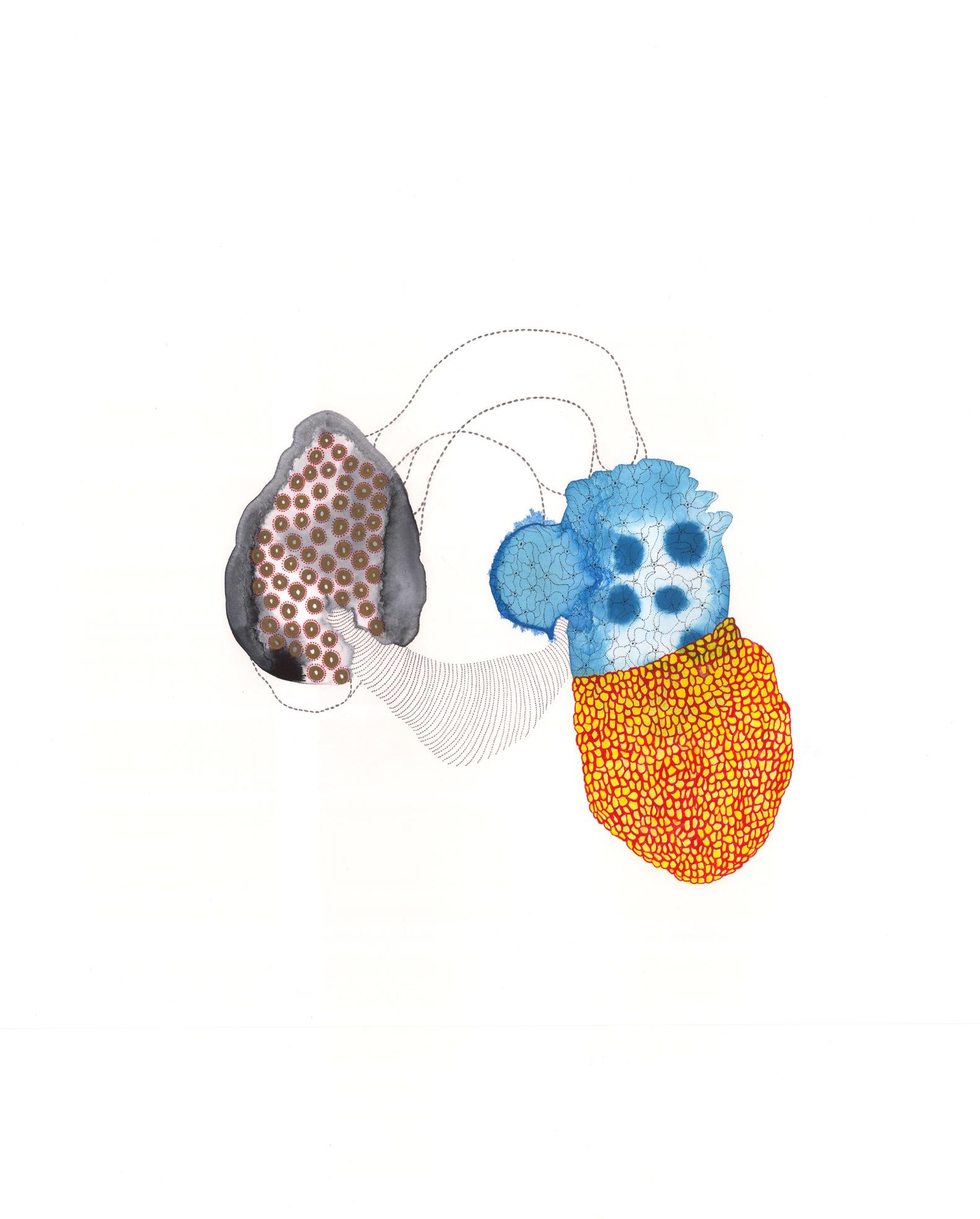 """VI-2 , gouache, graphite, ink on paper, 28"""" x 22"""", 2013"""