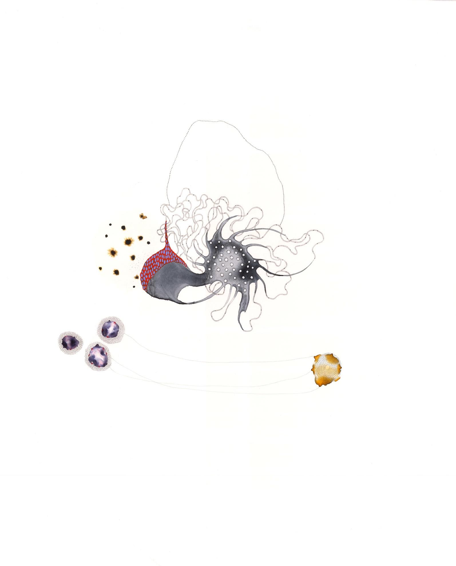 """VI-3 , gouache, graphite, ink on paper, 28"""" x 22"""", 2013"""