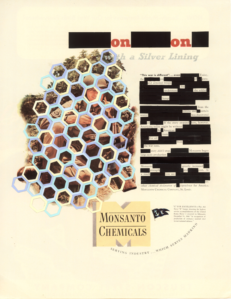 "This War Is Different , collage, 1942 Monsanto magazine advertisement, 12.75"" x 10.25"", 2013"