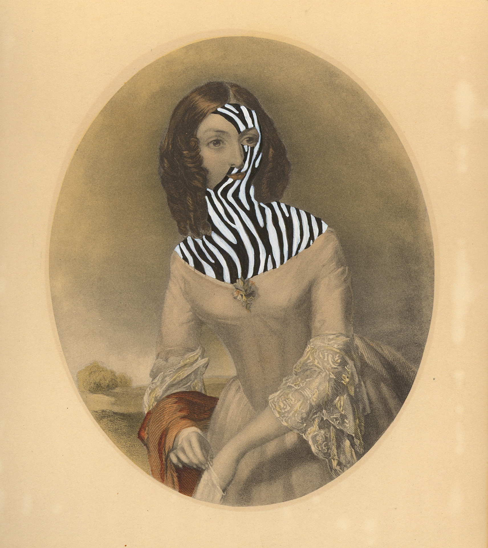 "Mrs.Calvin Hathaway 1840/2014 , gouache and ink on vintage offset litho, 7"" x 6"", 2014"