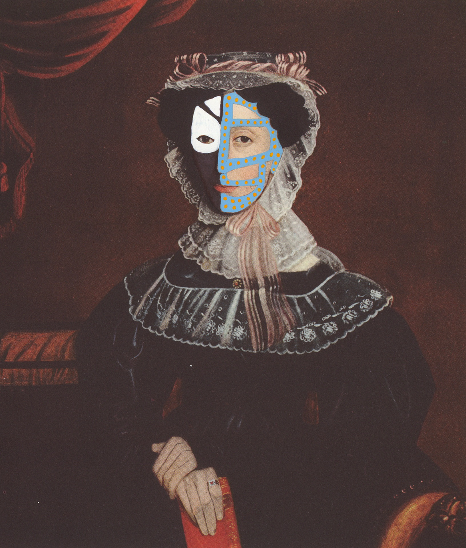 "Mrs. Ezra Tilton 1839/2014 , gouache and ink on book page, 6.75"" x 5.75"", 2014"