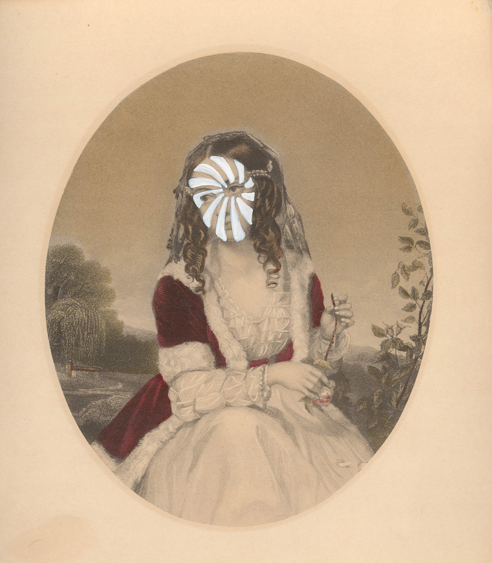 "Mrs. William Vanderlyn 1841/2014 , gouache on vintage offset litho, 7"" x 6"", 2014"