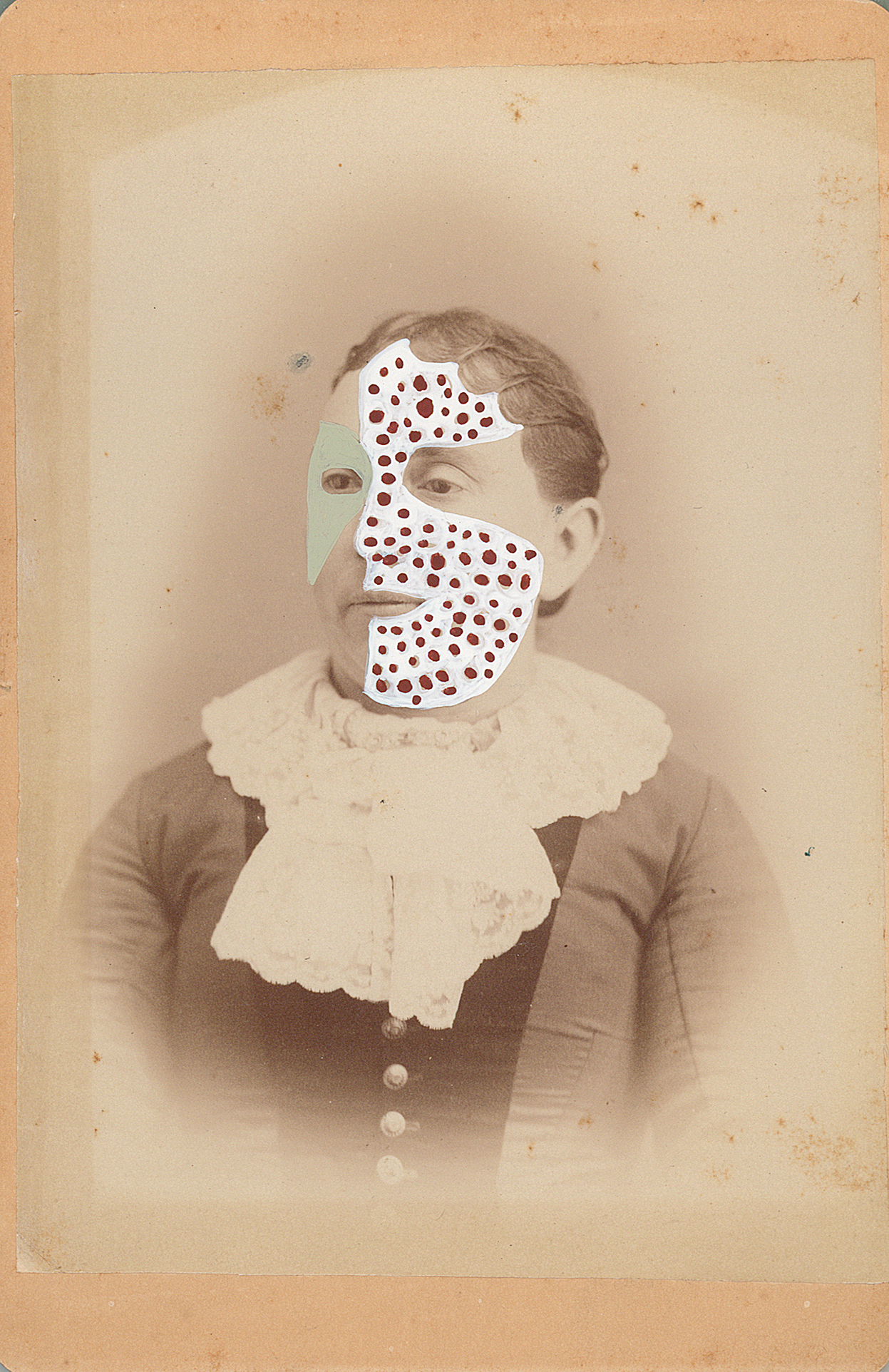 "Mrs. Jeremiah Adams 1862/2014 , gouache and ink on vintage photograph, 6.5"" x 4.25"", 2014"