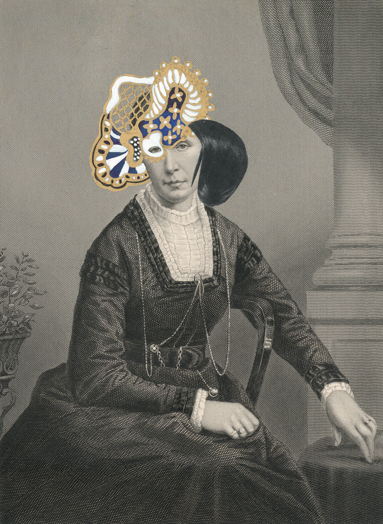 "Mrs. Edward Salisbury 1859/2014  , gouache, ink, gold paint, and collage on 19th century engraving, 7"" x 5"", 2014"