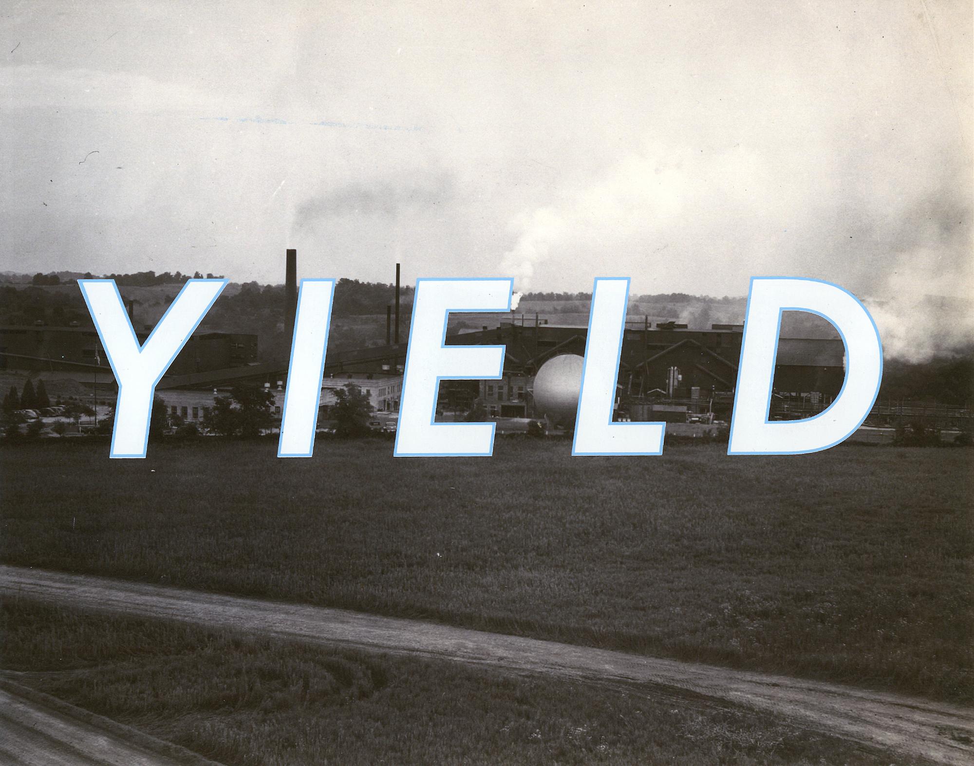"Yield , silkscreen on archival pigment print, 11"" x 14"", 2016"