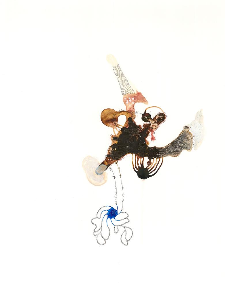 "Specimen-2, gouache, ink, graphite on Yupo, 14"" x 11"", 2013"