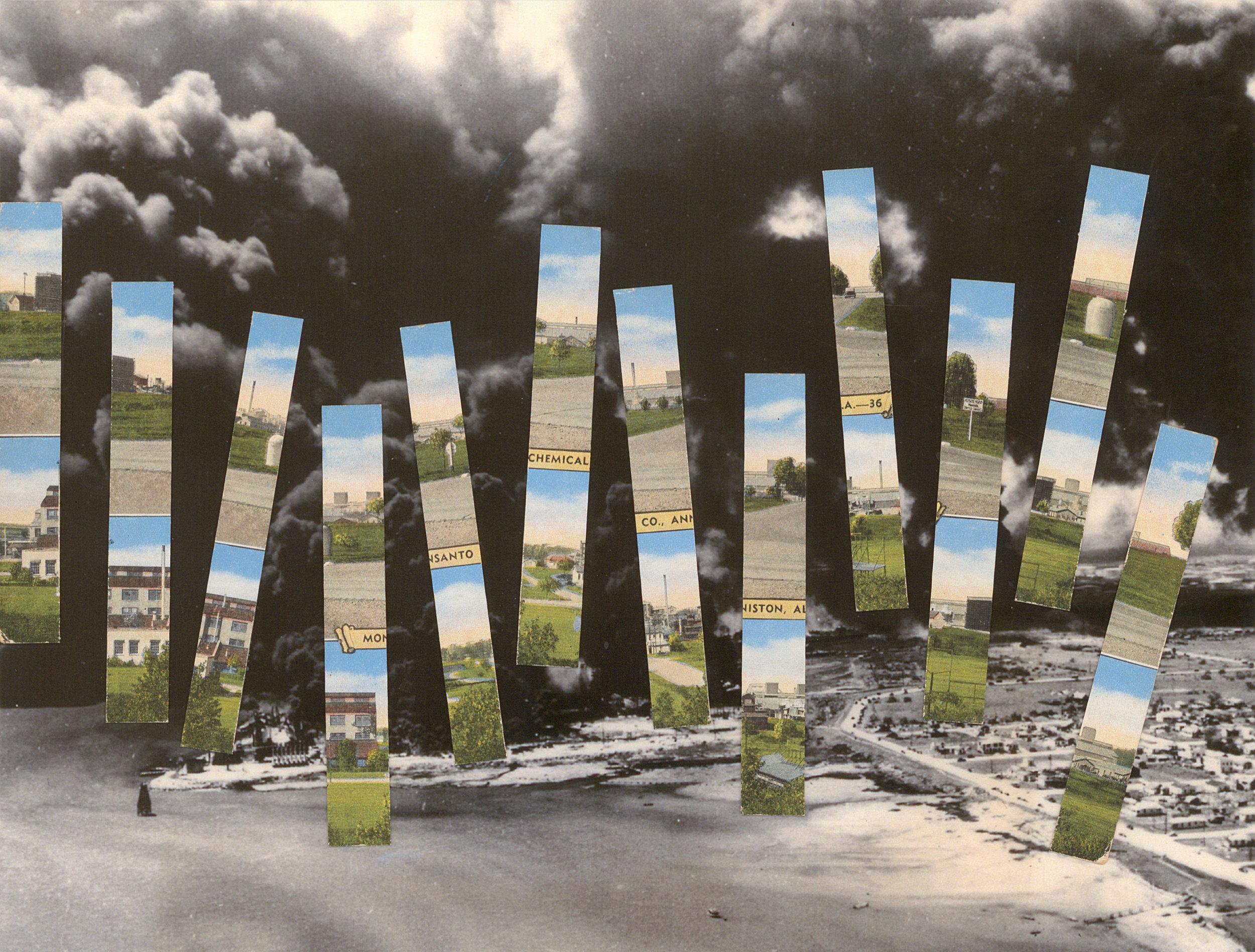 "Anniston, AL + Port of Texas City, Texas , vintage postcard on archival pigment print, 7.5"" x 9.9"", 2016"