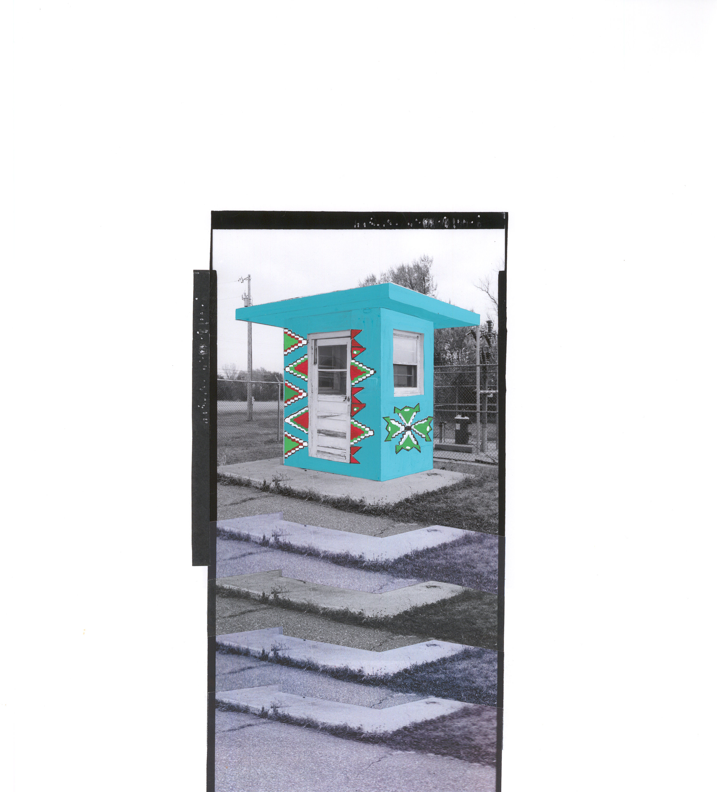 """Front Entry Box , collage and gouache on archival pigment print, 16.5"""" x 15"""", 2016"""