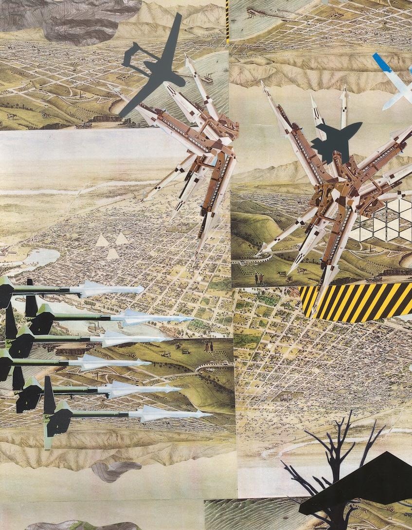 Drone Landscape (detail) , collage on paper