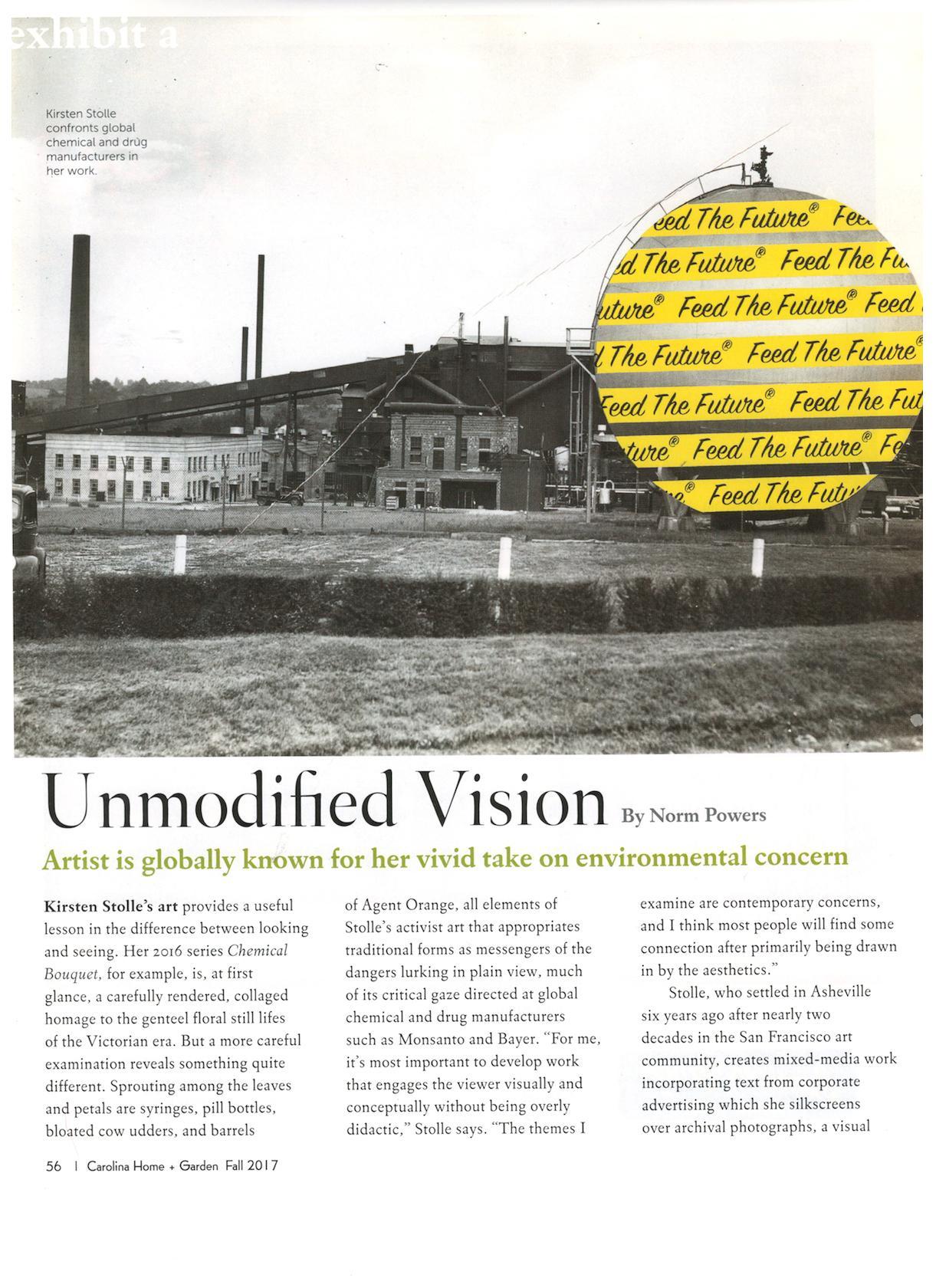 Unmodified Vision,  Carolina Home + Garden , December 2017, p. 56, 58, 60.