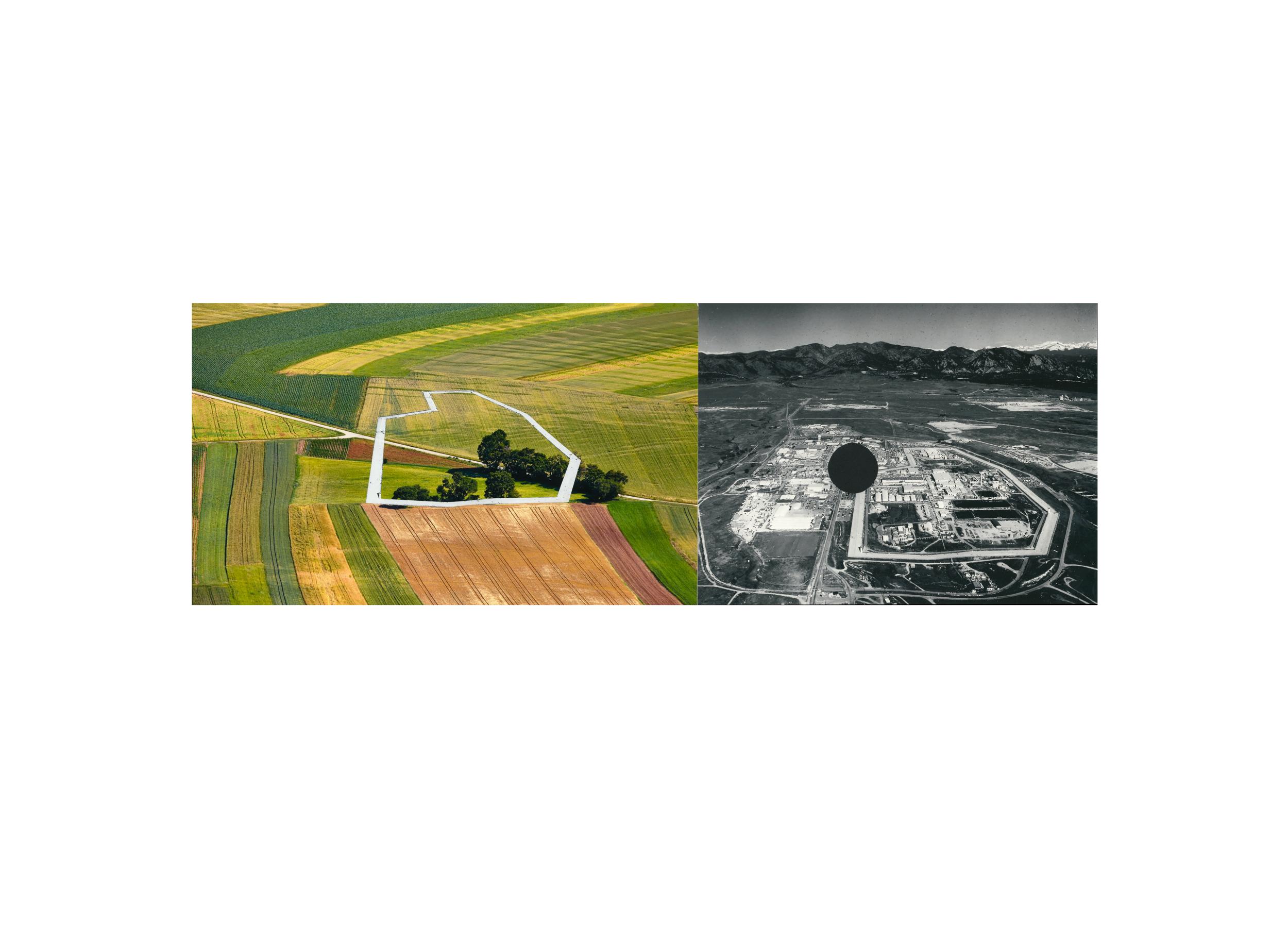 "Aerial Farmland, c ollage, archival pigment print, 23"" x 32"", 2018"