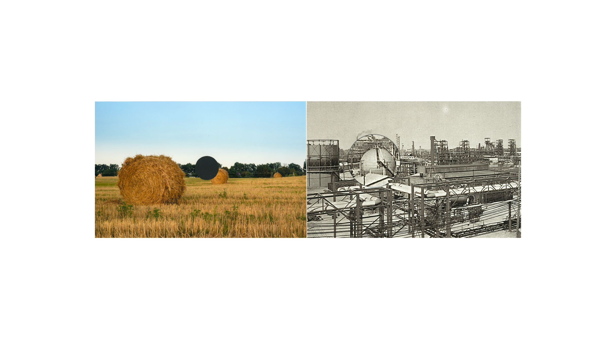 "Haystacks, c ollage, archival pigment print, 16.75"" h x 30"" w, 2018"