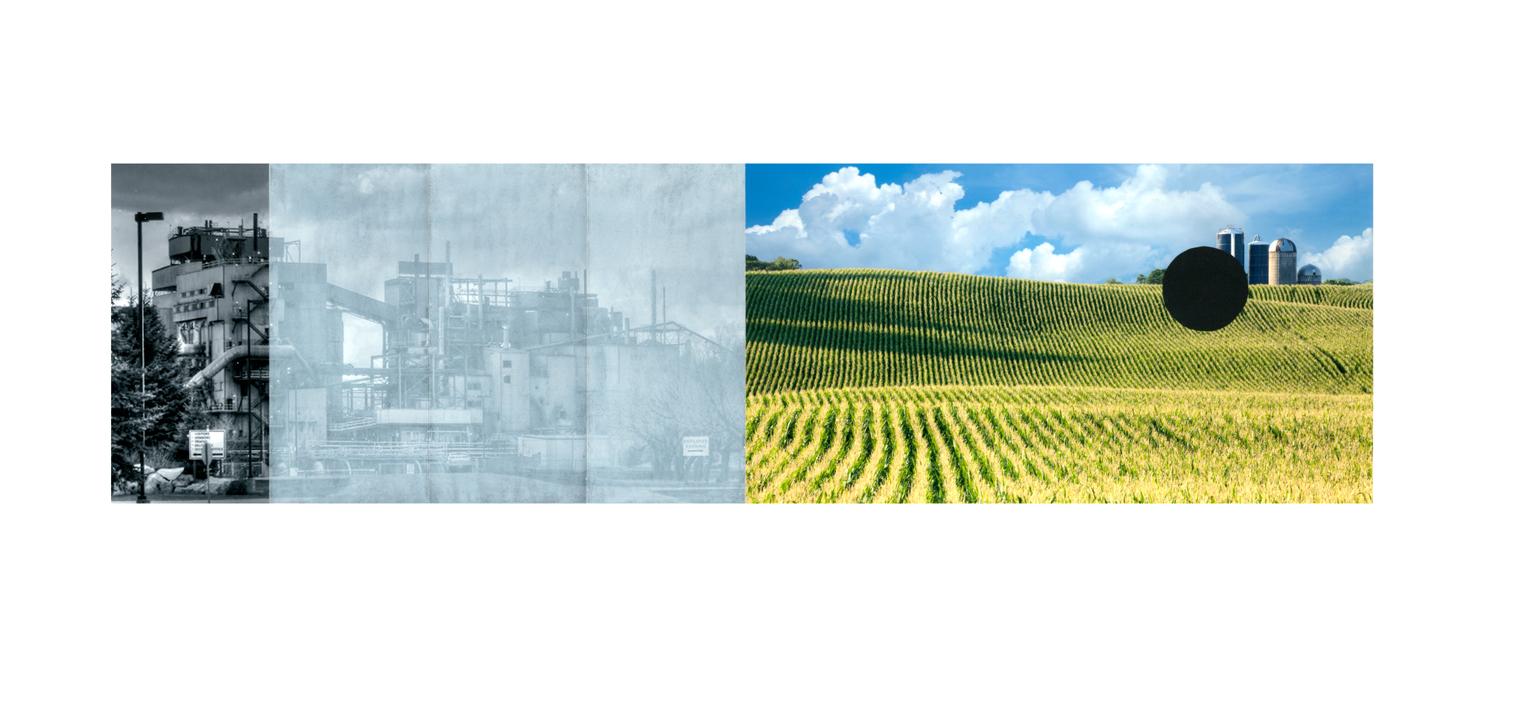 "Cornfield with Silos , collage, pastel, archival pigment print, 22.5"" x 30"", 2018"