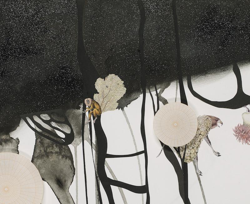 """Speculative Animals (detail) , collage, graphite powder, ink, glitter on paper, 47"""" x 60.5"""", 2018"""