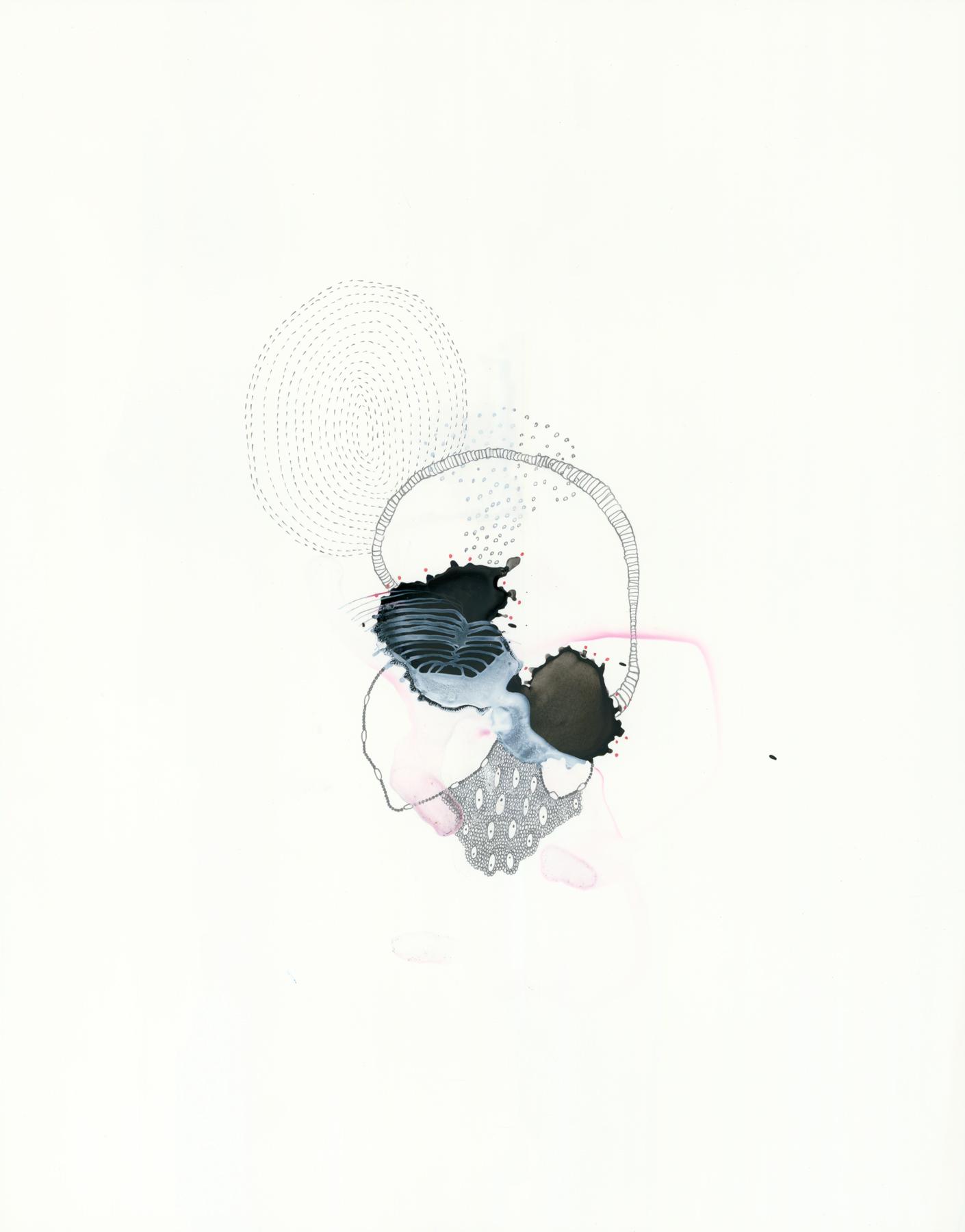 "Specimen-7, gouache, ink, graphite on Yupo, 14"" x 11"", 2013"